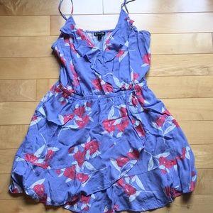 Express faux wrap mini dress with spaghetti straps